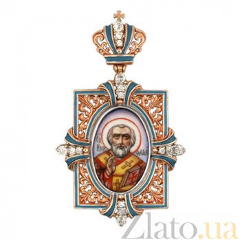 Золотая ладанка Святой Николай VLT--Э313-3