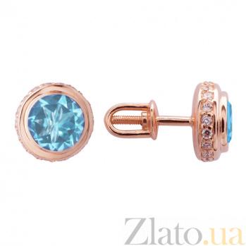 Серьги в красном золоте Нежность с голубым топазом и фианитами SVA--2190694101/Топаз голубой