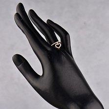 Золотое кольцо Свити в красном цвете с подвеской в форме сердца и фианитами