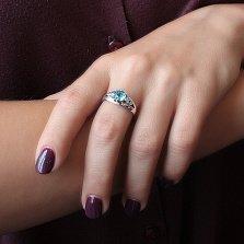 Серебряное кольцо Милена с кварцем под голубой топаз и белым цирконием