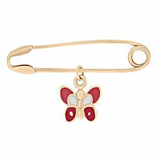 Булавка из красного золота с эмалью Бабочка