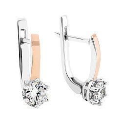 Серебряные родированные серьги с золотыми накладками и фианитами 000126418