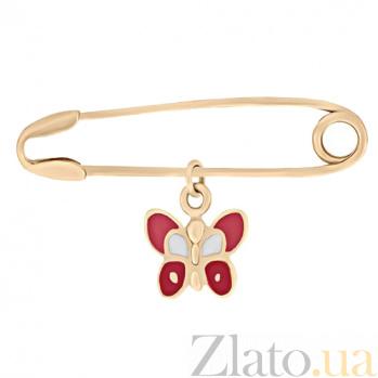 Булавка из красного золота с эмалью Бабочка 000023312