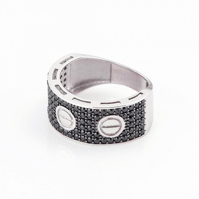Золотое кольцо Симона в белом цвете с черными фианитами в стиле Картье  000082365