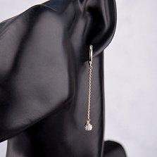 Золотые серьги-подвески Эрика в комбинированном цвете с фианитами (крупные камни внизу на кончиках)