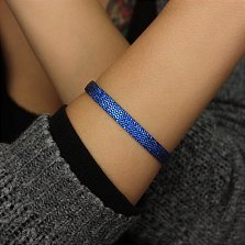 Серебряный жёсткий браслет Калье в усыпке синих фианитов