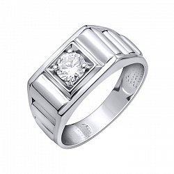 Серебряный перстень-печатка Георг с белым фианитом и фактурной шинкой