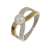 Серебряное кольцо с золотой вставкой и жемчугом Румба