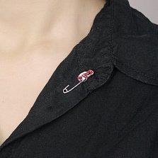 Серебряная булавка Веселая тачка с красной, черной и белой эмалью