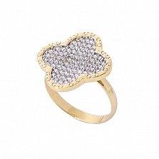Золотое кольцо Адда в желтом цвете с фианитами в стиле Ван Клиф