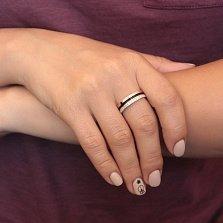 Серебряное кольцо Амалия с дорожкой фианитов, золотой накладкой и чёрной эмалью