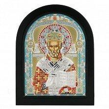 Икона на деревянной основе Святитель Николай с цветной эмалью и позолотой, 12х17