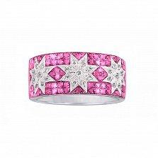 Кольцо из белого золота Рассветные звезды с бриллиантами, рубинами и розовыми сапфирами
