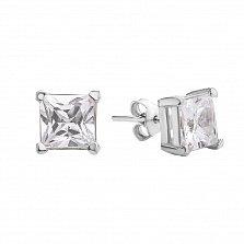 Серебряные серьги-пуссеты Принцесса с белыми фианитами в четырех крапанах