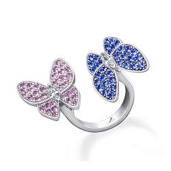 Серебряное кольцо Бабочки с синей шпинелью, розовыми и белыми фианитами