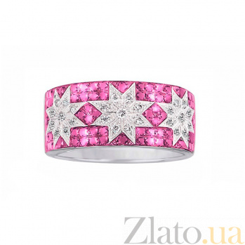 Кольцо из белого золота Рассветные звезды с бриллиантами, рубинами и розовыми сапфирами 000080999