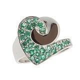 Серебряное кольцо с изумрудами Фиделия