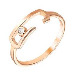Золотое кольцо Скрепочка в красном цвете с завальцованным фианитом 000096074