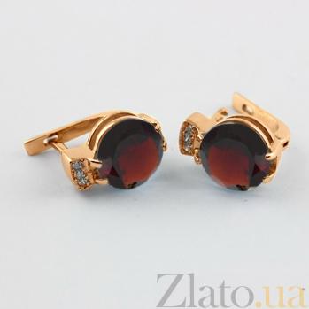 Золотые серьги с гранатом и фианитами Крейтер 000024411
