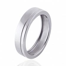 Мужское обручальное кольцо Hearts в белом золоте