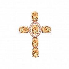Декоративный крестик из красного золота с цитринами и фианитами 000131532