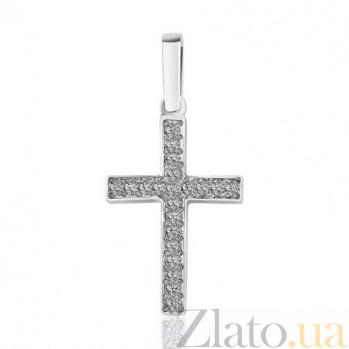 Крестик из белого золота Сияние с бриллиантами EDM--КР7136/1