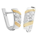 Серебряные сережки Прага со вставками золота