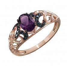 Кольцо Дарина из красного золота с аметистом и бриллиантами