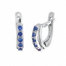 Серебряные серьги с голубыми фианитами Стефания