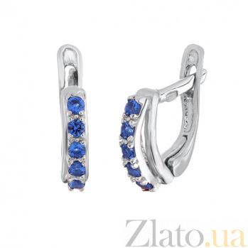 Серебряные серьги с голубыми фианитами Стефания SLX--С2ФЛТ/155