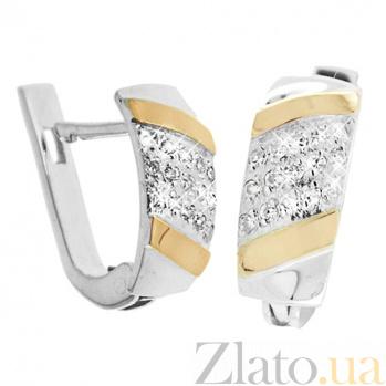 Серебряные сережки Прага со вставками золота и фианитами BGS--413с