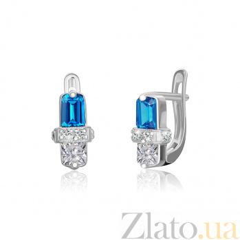Серьги из серебра с голубым цирконием Кира SLX--СК2ФТ1/017