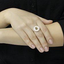 Серебряное кольцо Желтый мишка с белыми фианитами и золотой накладкой