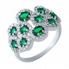 Серебряное кольцо Царевна с фантазийной шинкой, синтезированными изумрудами и фианитами