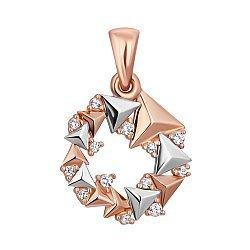 Золотой кулон из пирамидок в комбинированном цвете с фианитами 000117411