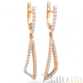 Золотые серьги с фианитами Пейтон SUF--110242