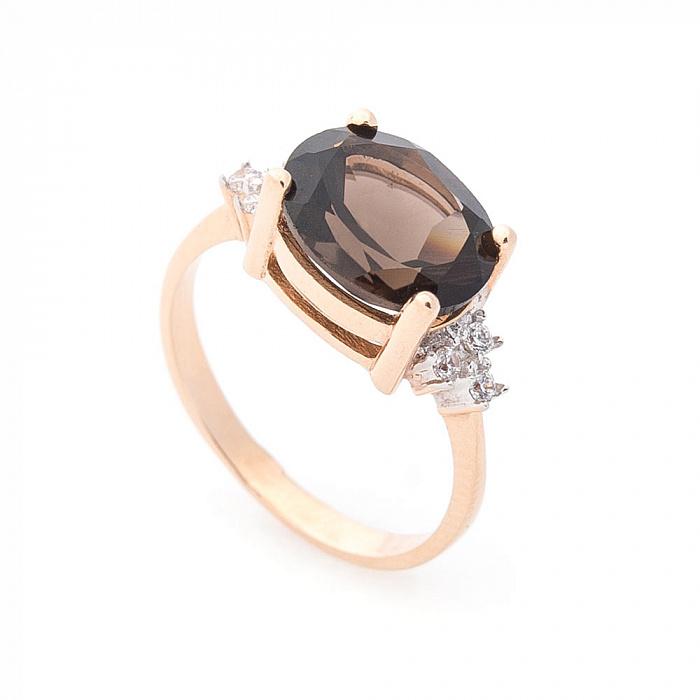 Кольцо Аделаида в красном золоте с раухтопазом  и белыми фианитами 000082294