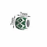 Серебряный шарм Ромбический узор с зеленой эмалью