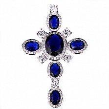 Серебряный декоративный крест Мирилл с синими и белыми фианитами