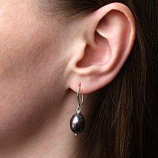 Серебряные серьги Виола с черным жемчугом