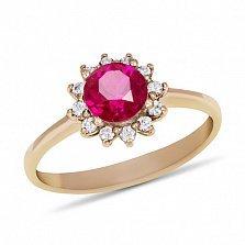 Золотое кольцо Великолепный закат с синтезированным рубином и фианитами