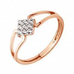 Кольцо в красном золоте с фианитами 000115585