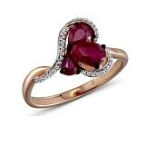 Серьги в красном золоте Алиса с рубином и бриллиантами