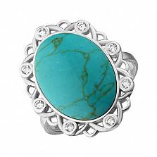 Серебряное кольцо Малинея с бирюзой и цирконием