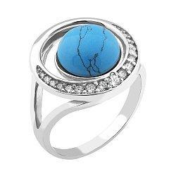 Серебряное кольцо Белиссимо с имитацией бирюзы и фианитами