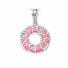 Серебряный кулон Первая любовь с узором из сердечек с фианитами и розовой эмалью в стиле Фрайвилле