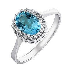Серебряное кольцо с голубым топазом и фианитами 000132126