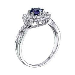 Серебряное кольцо с сапфиром и фианитами 000131822