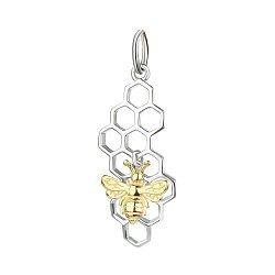 Серебряный кулон Пчелка с позолотой 000113699