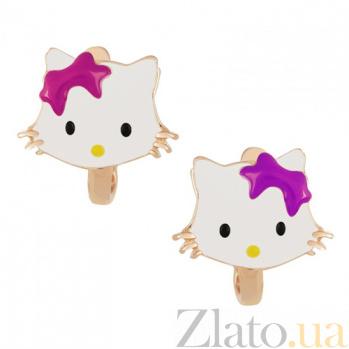 Детские золотые серьги Китти с фиолетовым бантом SVA--2423771/Без вставки/фиол
